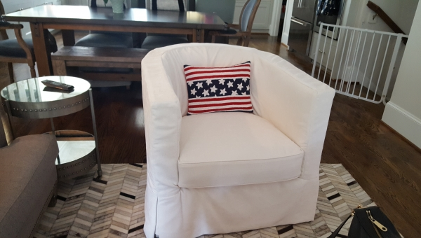 Slipcover with Waterfall Skirt by Elegant Upholstery