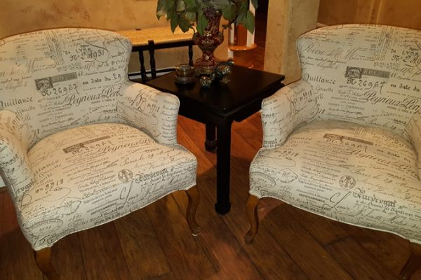 Side Chairs with French-Script Fabric by Elegant Upholstery Houston