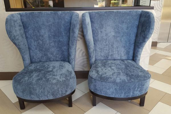wing-back chair reupholstery by Elegant Upholstery Houston