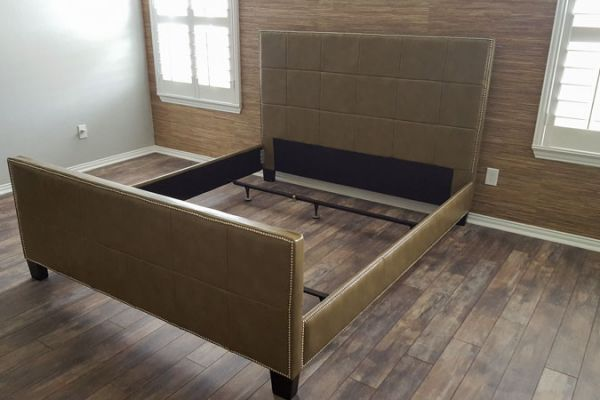 Leather bed upholstery by Elegant Upholstery Houston