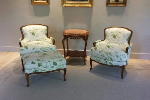 Antique Chairs and Ottoman Reupholstered by Elegant Upholstery Houston, TX