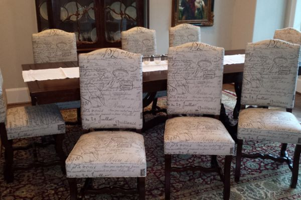 Dining Chairs With French Script Fabric Reupholstered by Elegant Upholstery Houston, TX