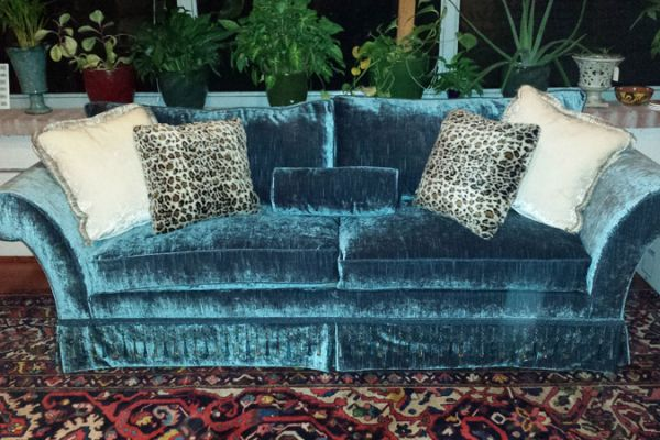 Sofa Reupholstery by Elegant Upholstery with blue velvet Houston, TX