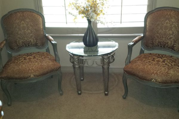 French Chairs Upholstered With Silk Sugar Land, TX by Elegant Upholstery