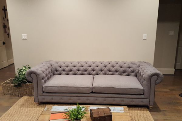 Tufted Sofa with nail heads Reupholstered in Houston by Elegant Upholstery