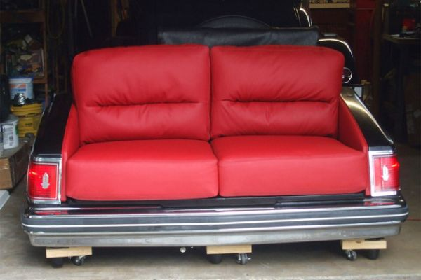 Custom sofa made out of a Cadillac by Elegant Upholstery Houston, TX