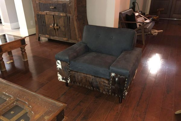 Custom Vintage Chair Upholstery With Cowhide Leather Houston, TX by Elegant Upholstery